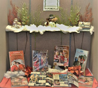 Sears and Eaton's Christmas catalogues on display in the Museum's 2020 Christmas display.